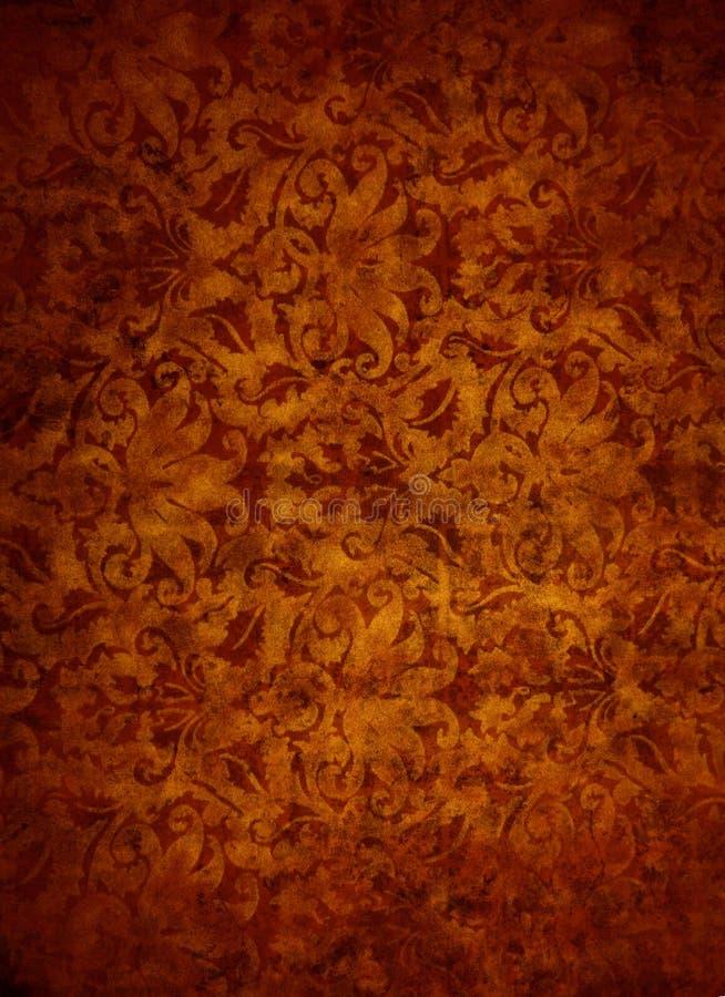 Fond de Rose Gold Brocade Leaf Textured illustration stock