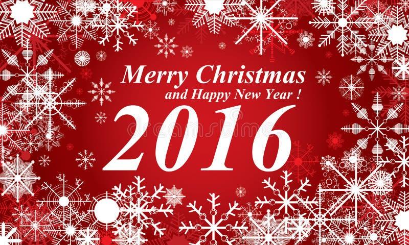 Fond de rouge de neige, de Joyeux Noël et de bonne année 2016 Neige en hiver illustration stock