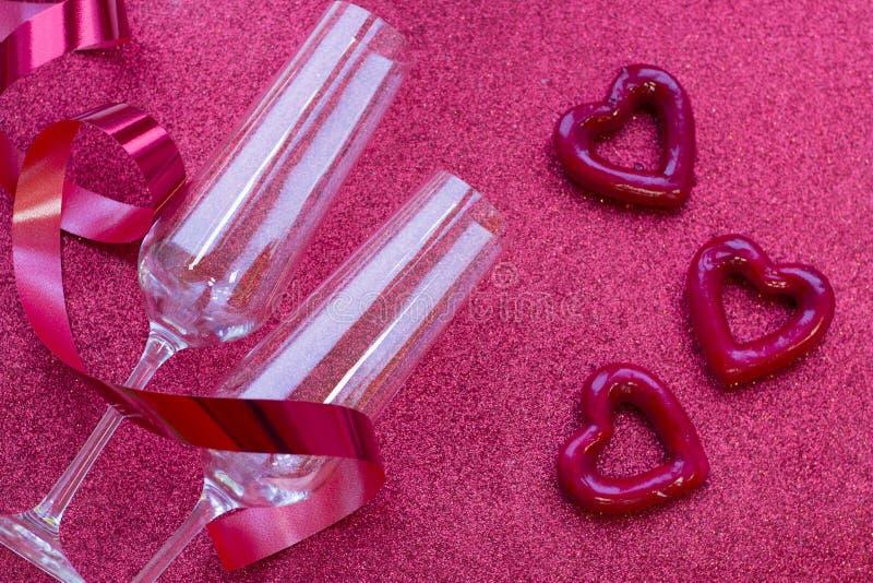 Fond de rouge de scintillement du concept de Valentine photos stock