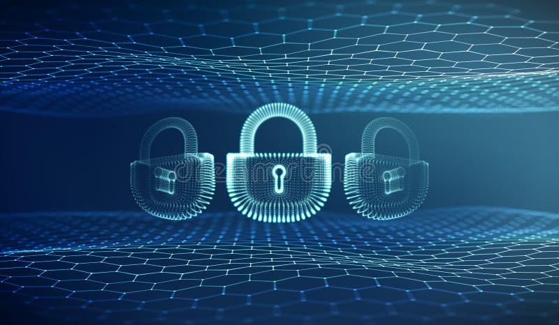 Fond de sécurité de cyber d'Internet de Coputer Illustration de vecteur de crime de Cyber serrure numérique illustration stock