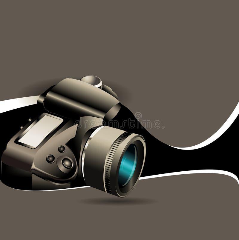 Fond de sépia de vecteur avec un appareil-photo photographique illustration stock