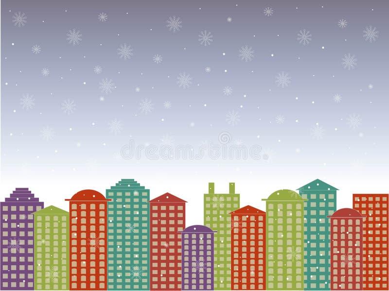 Fond de série de ville Bâtiments colorés, ciel nuageux de bleus, neige, hiver dans la ville, vecteur illustration libre de droits