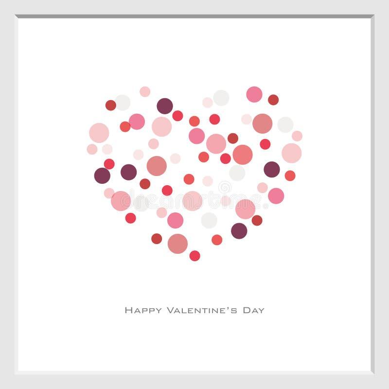 Fond de Saint-Valentin avec le style aléatoire de point de cercle dans le rouge-ton, vecteur, insecte, invitation, affiches, broc illustration libre de droits