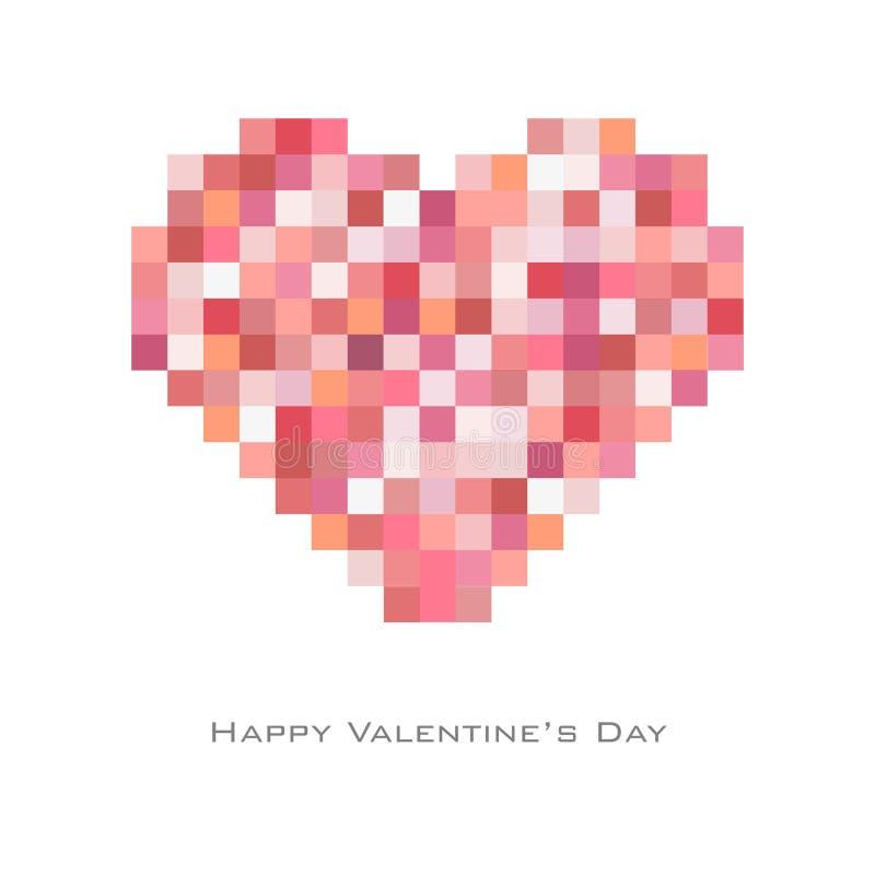 Fond de Saint-Valentin avec le style carré aléatoire de point dans le rouge-ton, insecte, invitation, affiches, brochure, bannièr illustration stock