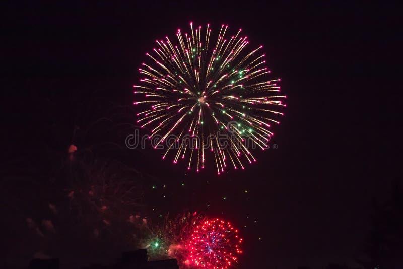 Fond de salut multicolore et de plan rapproché de feux d'artifice sur un fond noir images stock
