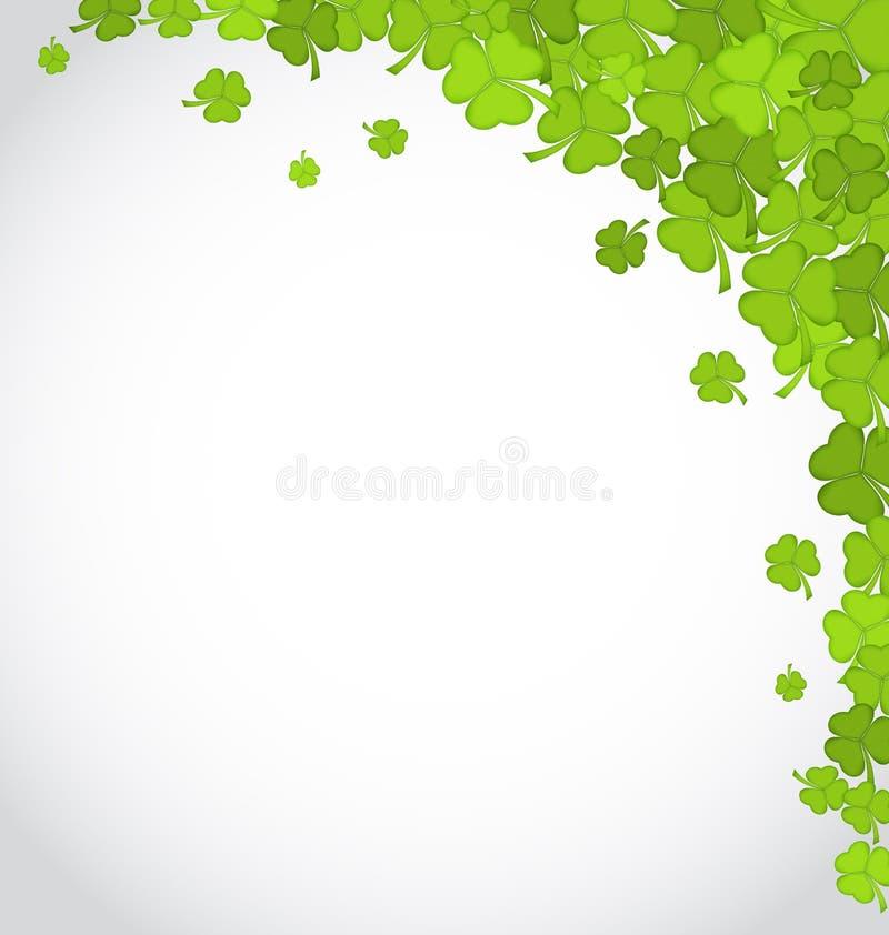 Fond de salutation avec des oxalidex petite oseille pour le jour de St Patrick, copie s illustration de vecteur