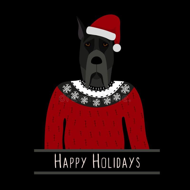 Fond de salutation avec great dane Un chien avec un chapeau de Santa Claus Conception plate illustration stock