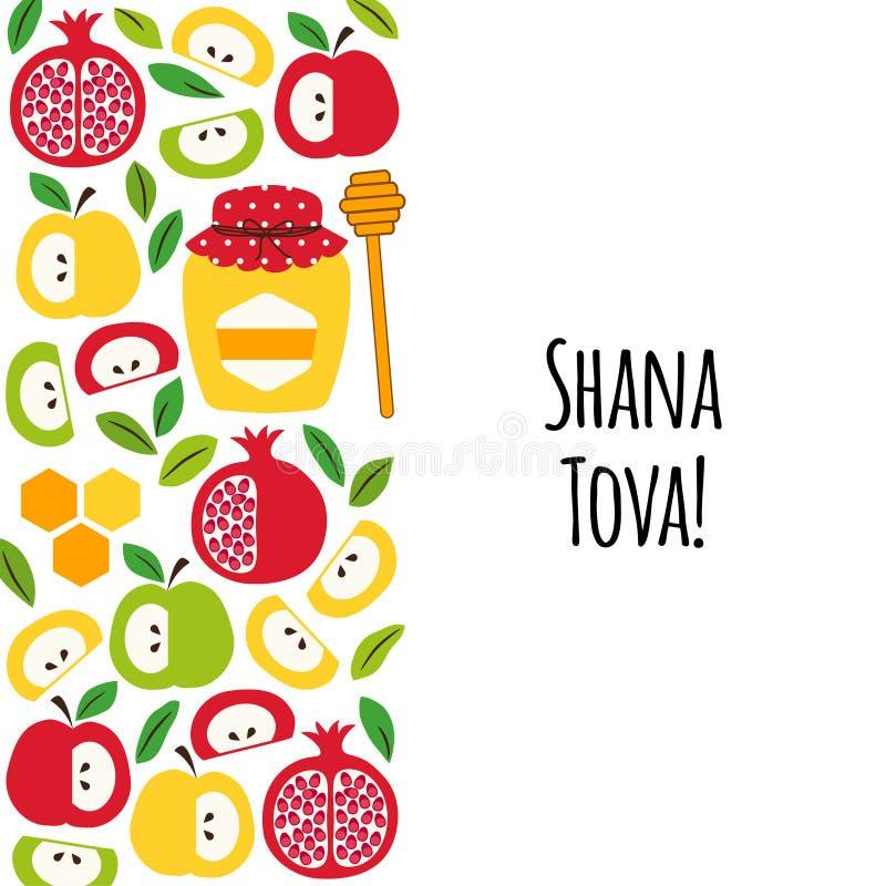 Fond de salutation mignon de bannière avec des symboles des vacances juives Rosh Hashana, Shana Tova de nouvelle année illustration stock