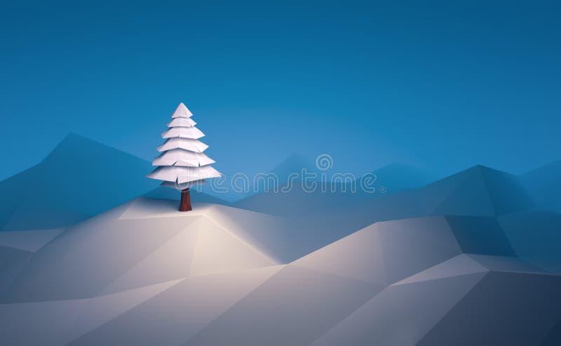 fond de scène de Noël d'arbre d'hiver de l'illustration 3d bas poly illustration libre de droits