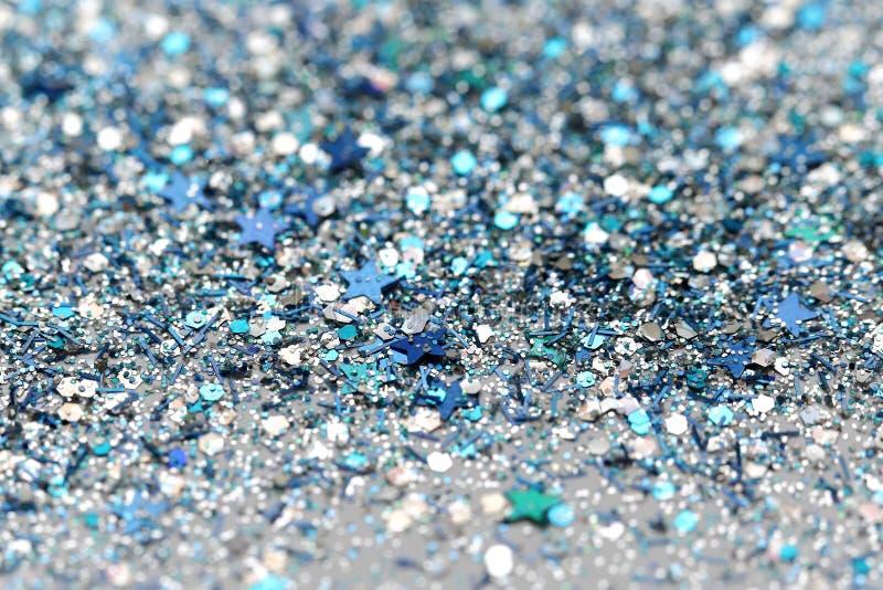 Fond de scintillement congelé bleu et argenté de scintillement d'étoiles d'hiver de neige Vacances, Noël, texture d'abrégé sur no photo libre de droits