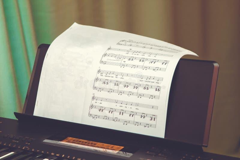 Fond de score de musique : les notes de piano, se ferment  Fin électronique de synthétiseur de clés  Le klaxon de musique a placé photographie stock libre de droits