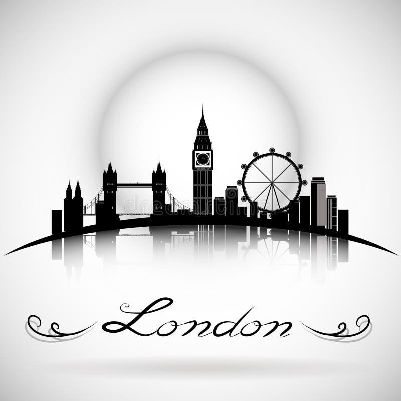 Fond de silhouette d'horizon de ville de Londres avec la conception typographique Vecteur Eps10 illustration de vecteur