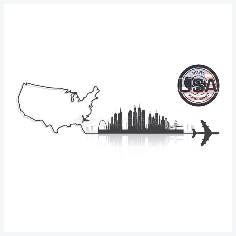 Fond de silhouette de bâtiments d'horizon des Etats-Unis d'Amérique illustration stock