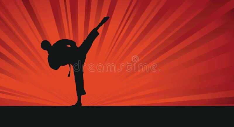 Fond de silhouette de karaté illustration libre de droits