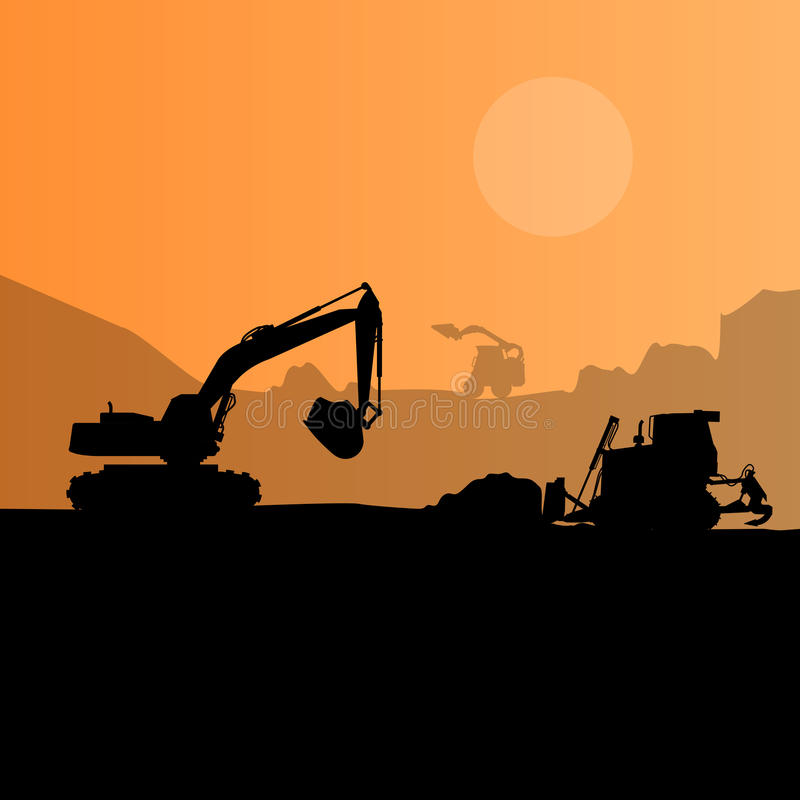 Fond de silhouette de machines de construction Ensemble noir et orange de travaux au sol illustration de vecteur
