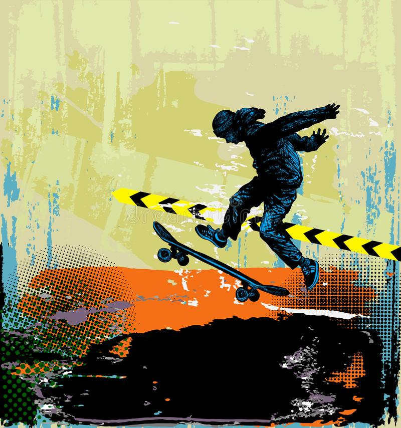Fond de skateboard Illustration de sport extrême avec patineur de type illustration stock