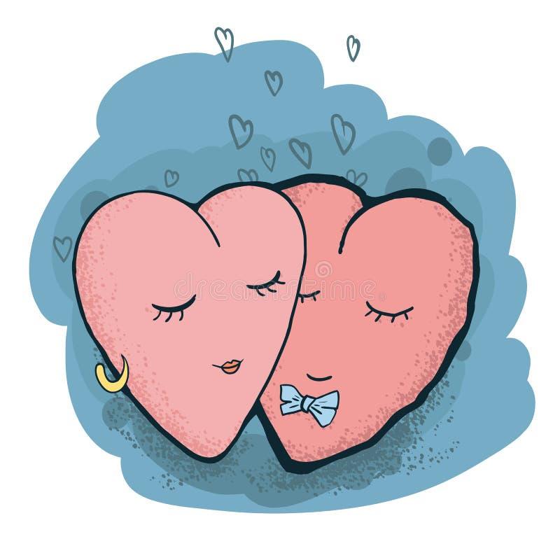Fond de sourire rouge de bleu de deux coeurs Conception d'art pour les salutations de jour du ` s de Valentine et la carte, banni illustration libre de droits