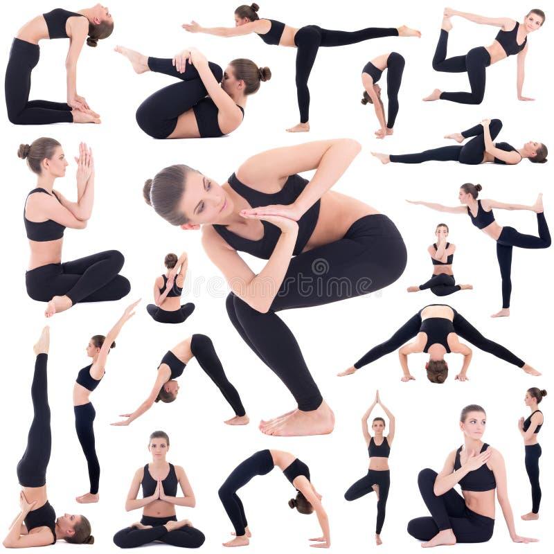 Fond de sport - mince et femme flexible faire le yoga a isolé o photo libre de droits