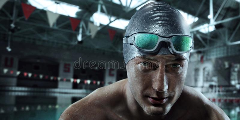 Fond de sport Nageur avec des verres image libre de droits