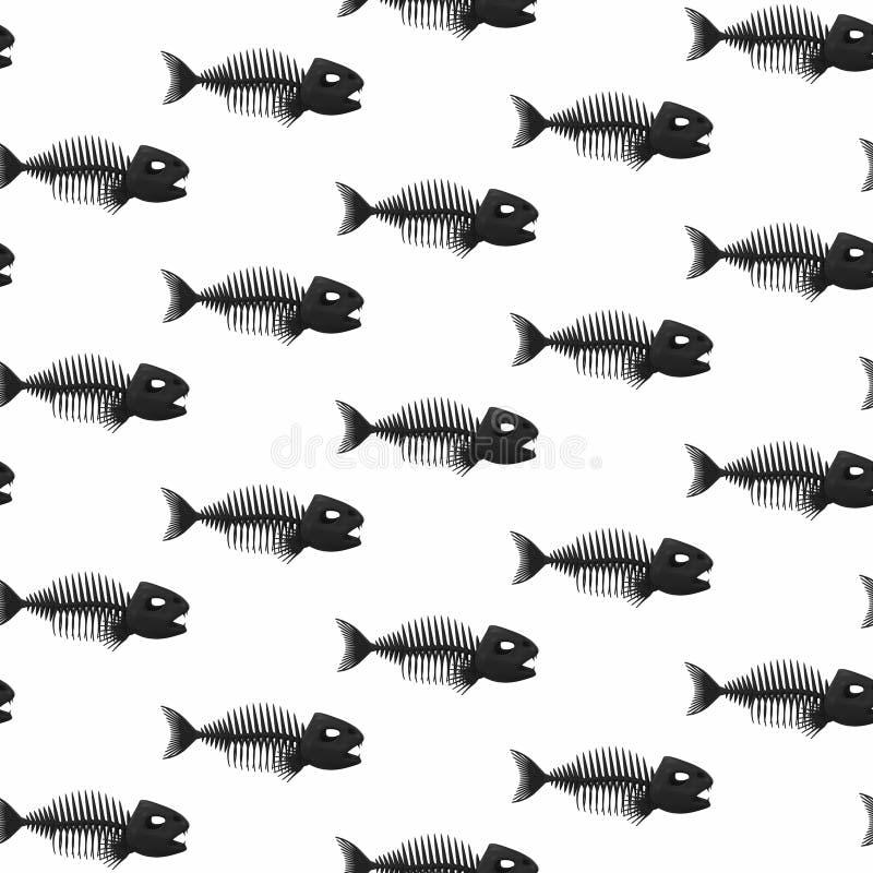 Fond de squelettes de poissons Configuration sans joint illustration du rendu 3d illustration de vecteur