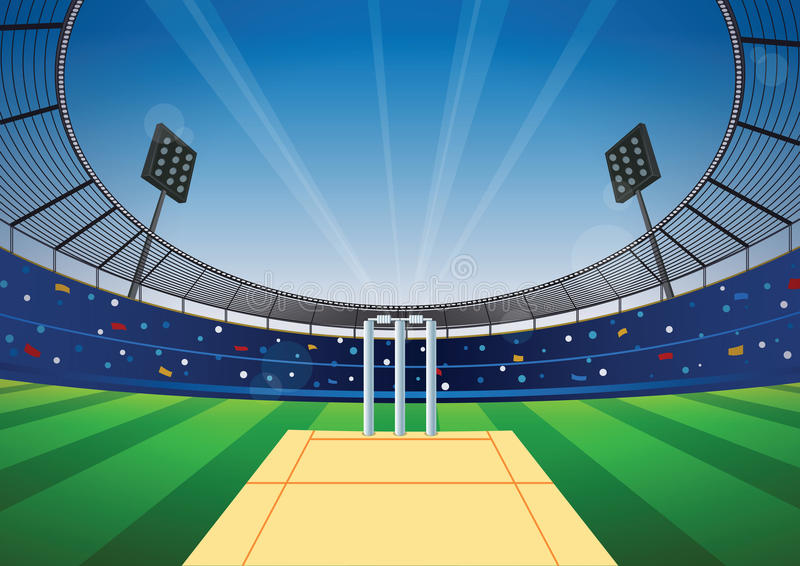 Fond de stade de cricket illustration de vecteur