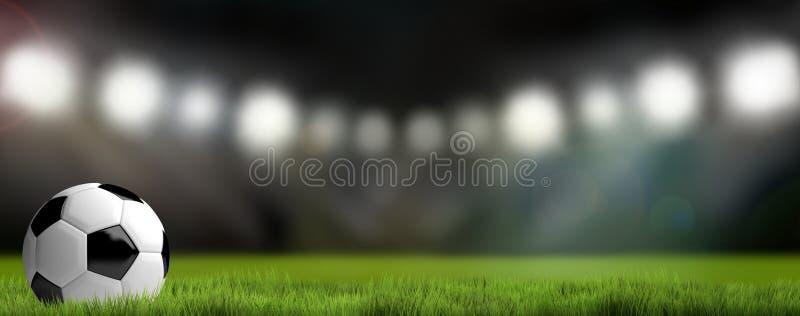 Fond de stade de football du football 3D rendent le football illustration libre de droits