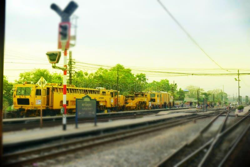 Fond de station de train d'Ayutthaya images stock