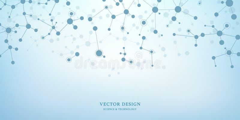 Fond de structure moléculaire Fond abstrait avec de l'ADN de molécule Médical, la science et technologie numérique avec illustration de vecteur