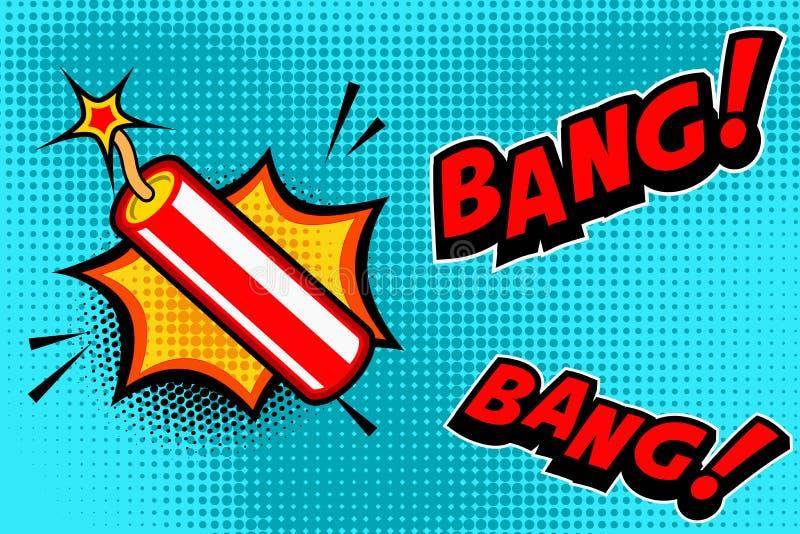 Fond de style de bande dessinée avec l'explosion de bâton de dynamite Concevez l'élément pour la bannière, affiche, insecte illustration de vecteur