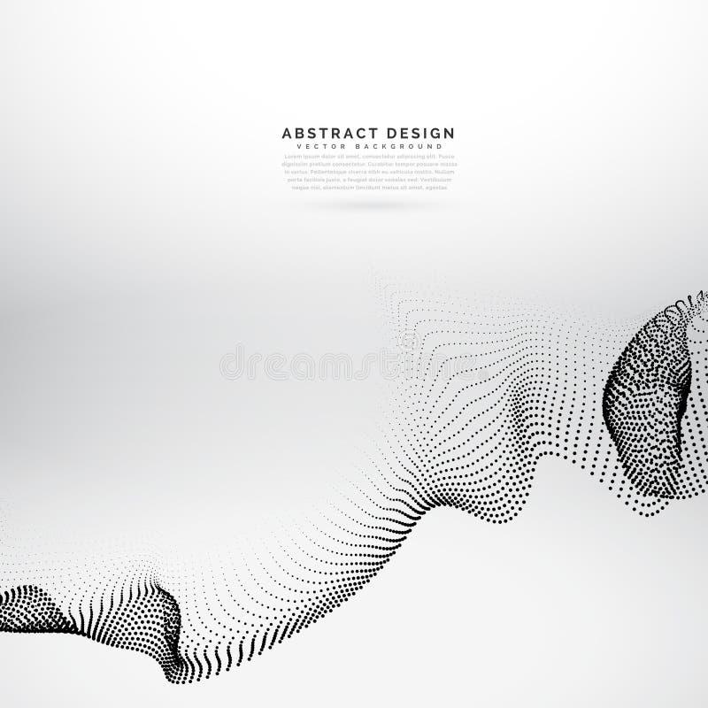 Fond de style de vague de vecteur de maille de rangée de particules illustration stock