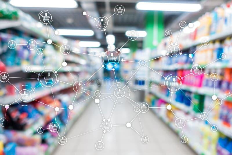 Fond de supermarch? brouill? par commerce ?lectronique de vente de vente au d?tail de structure de caddie photo stock