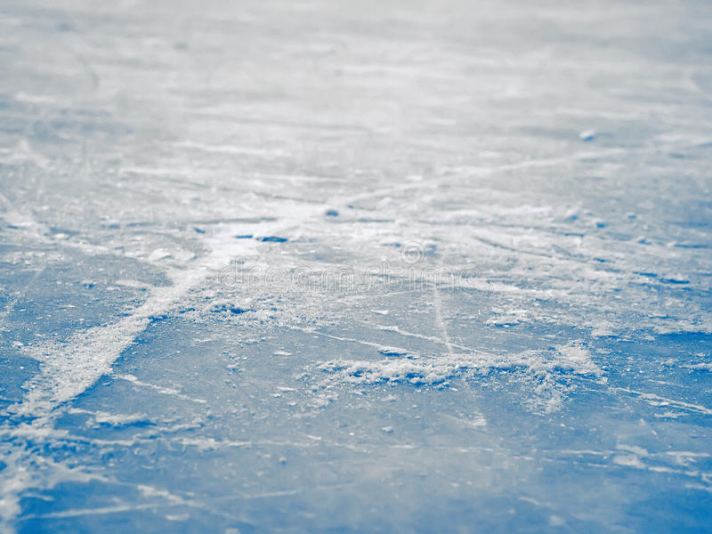 Fond de surface de piste de hockey sur glace, glace bleue abstraite, sélective images libres de droits
