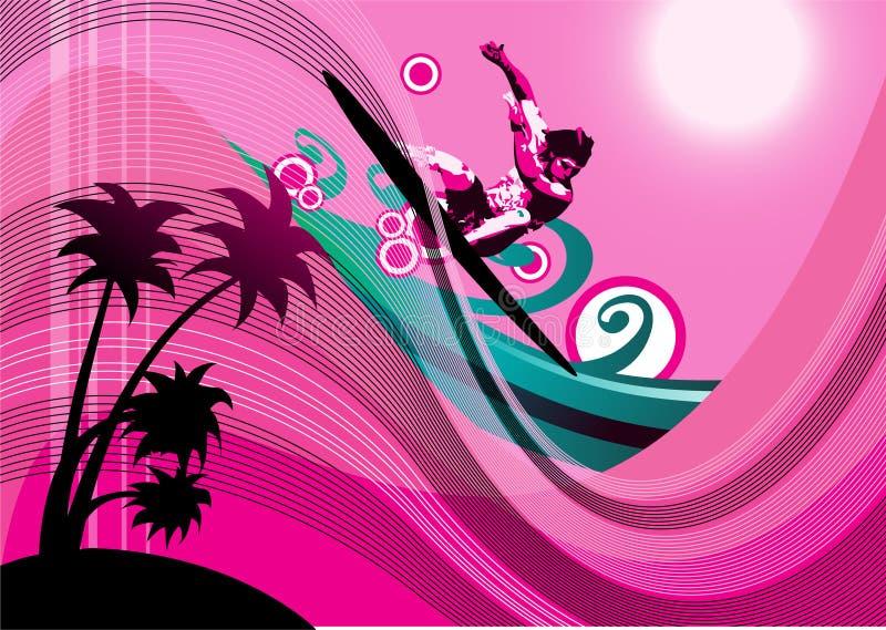 Fond de surfer illustration de vecteur