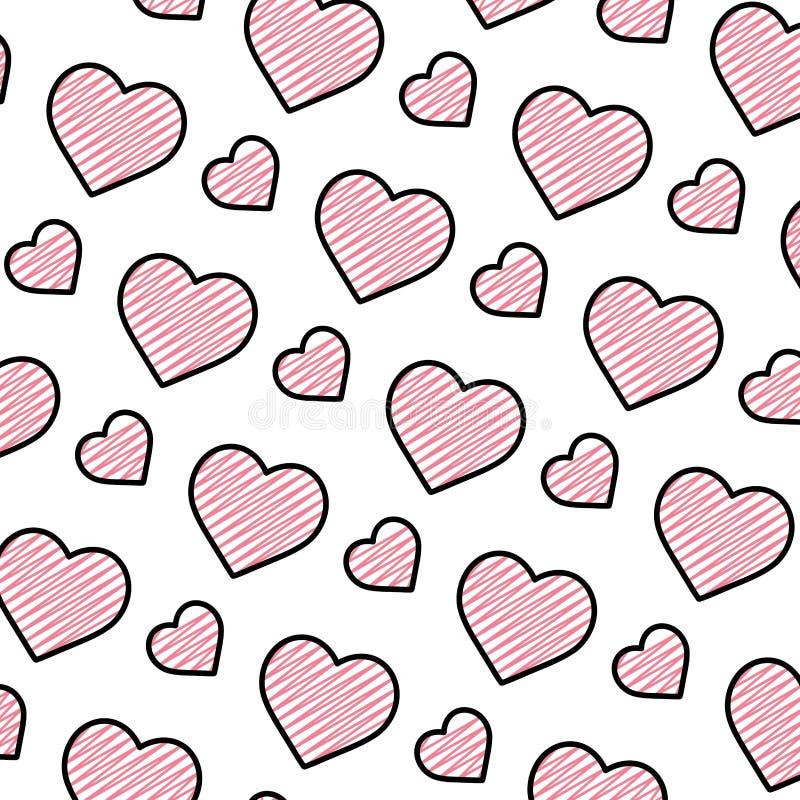 Fond de symbole d'amour de coeur de beauté de griffonnage illustration stock