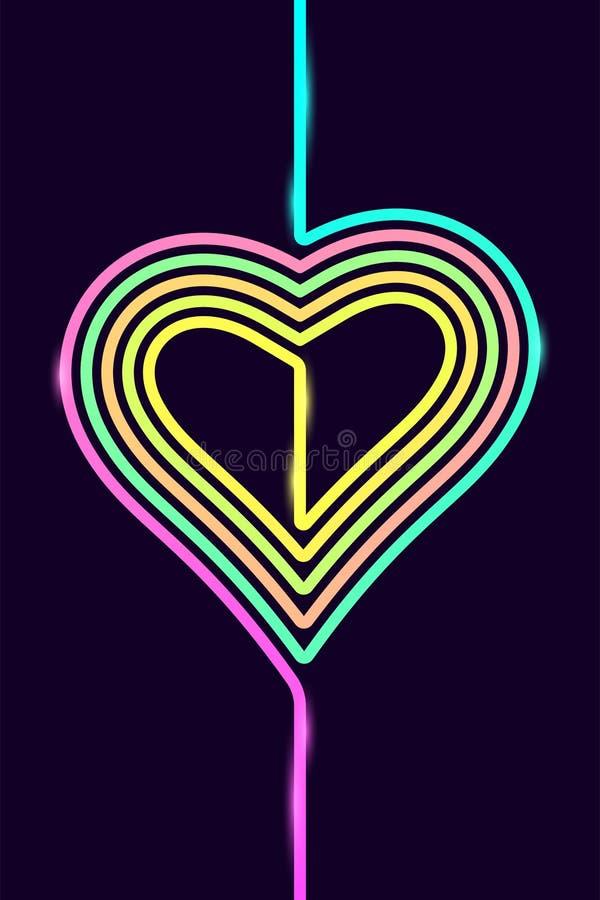Fond de téléphone de vecteur avec le coeur coloré illustration libre de droits