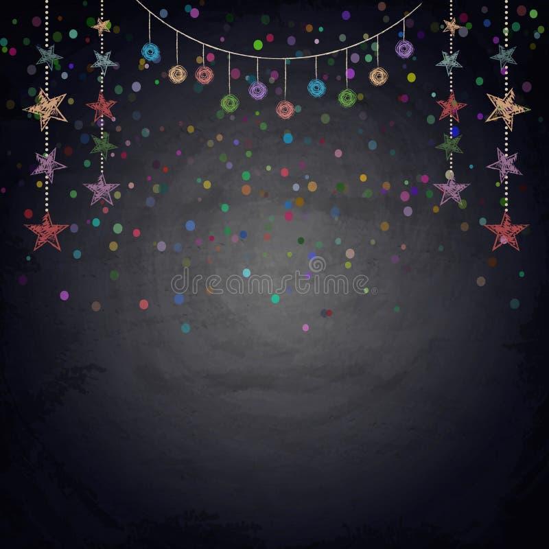 Fond de tableau avec des étoiles d'étamine de dessin illustration de vecteur
