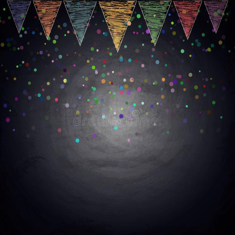Fond de tableau avec des drapeaux et des confettis d'étamine de dessin photographie stock libre de droits