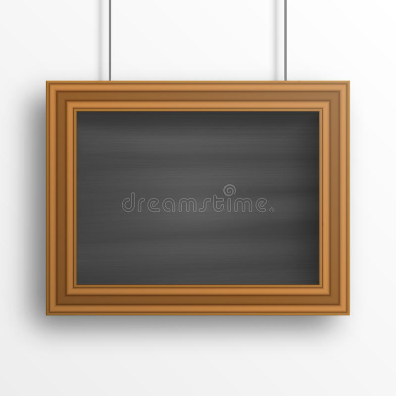 Fond de tableau avec le cadre en bois sur le mur blanc illustration libre de droits