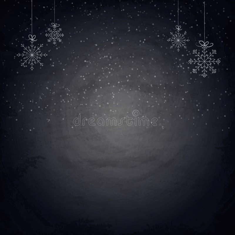 Fond de tableau de Noël avec des flocons de neige illustration libre de droits