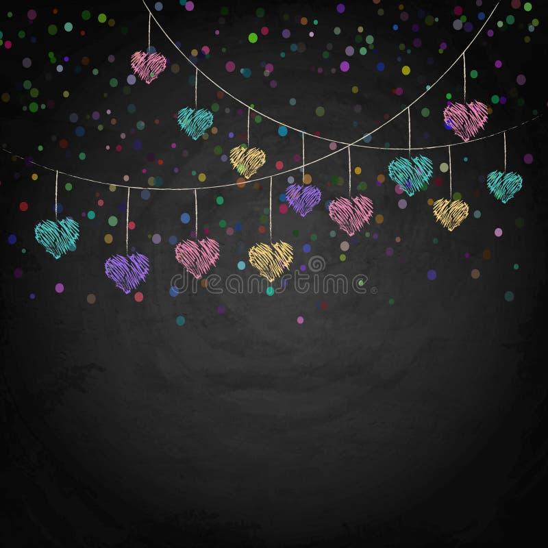 Fond de tableau noir avec des coeurs d'étamine de dessin illustration stock