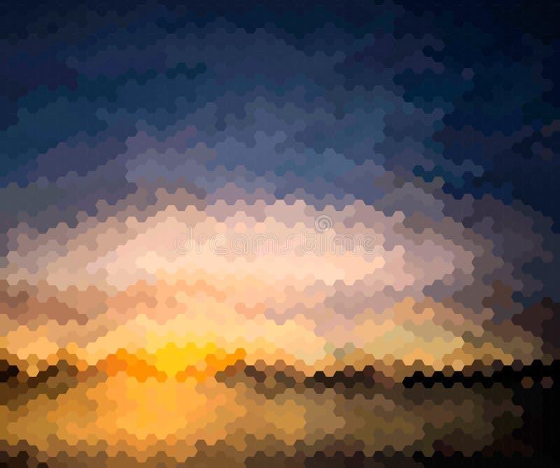 Fond de tache floue avec le coucher du soleil au-dessus de la mer illustration libre de droits