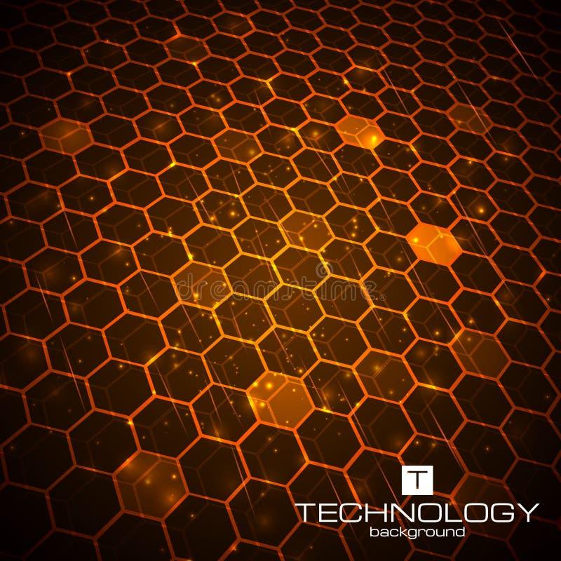 Fond de technologie avec la texture de nid d'abeilles illustration stock
