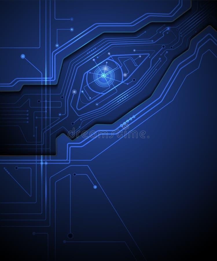 Fond de technologie de circuit d'oeil bleu illustration stock