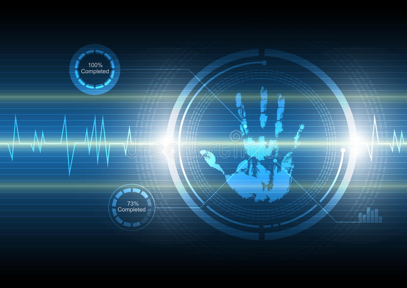 Fond de technologie de handprint de balayage illustration de vecteur