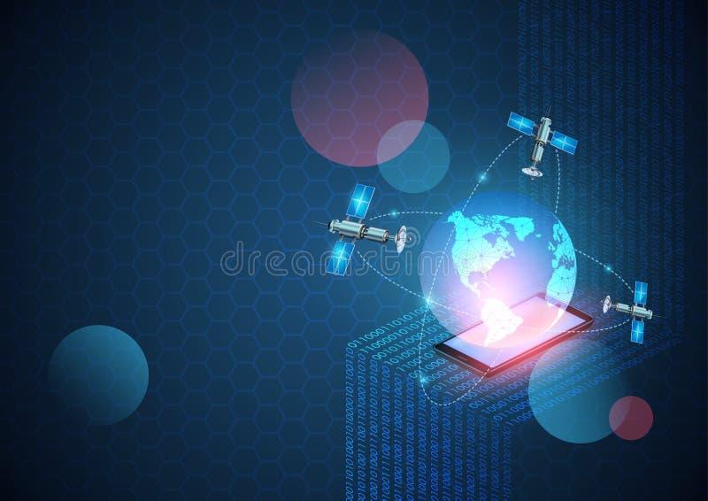 Fond de technologie de réseau de vecteur R?seau mobile de nouvelle g?n?ration et l'Internet Données numériques comme code binaire illustration libre de droits