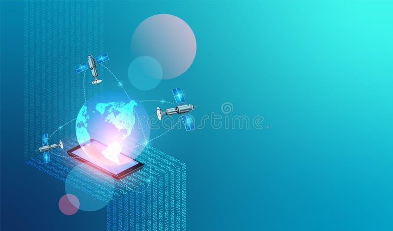 Fond de technologie de r?seau de vecteur Filet et Internet mobiles Données numériques comme code binaire de chiffres relié pour m illustration stock