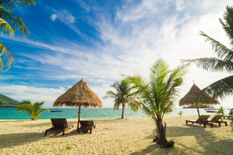 Fond de temps de vacances de deux chaises longues de plage sous l'herbe image stock