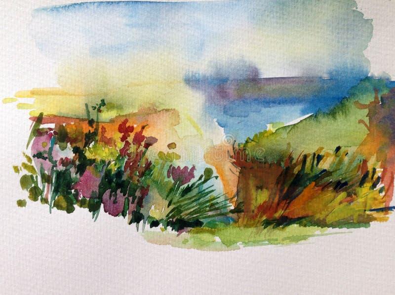 Fond de texture coloré lumineux abstrait d'aquarelle fait main Peinture de ciel et de nuages Paysage Côte illustration de vecteur