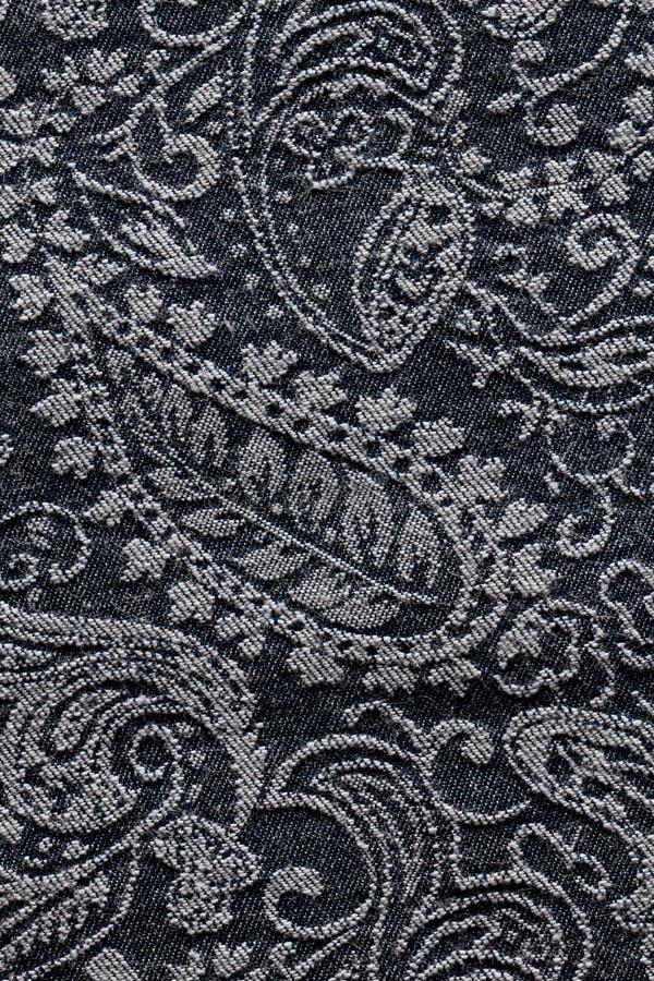 Fond de texture de tissu de Paisley de denim images libres de droits