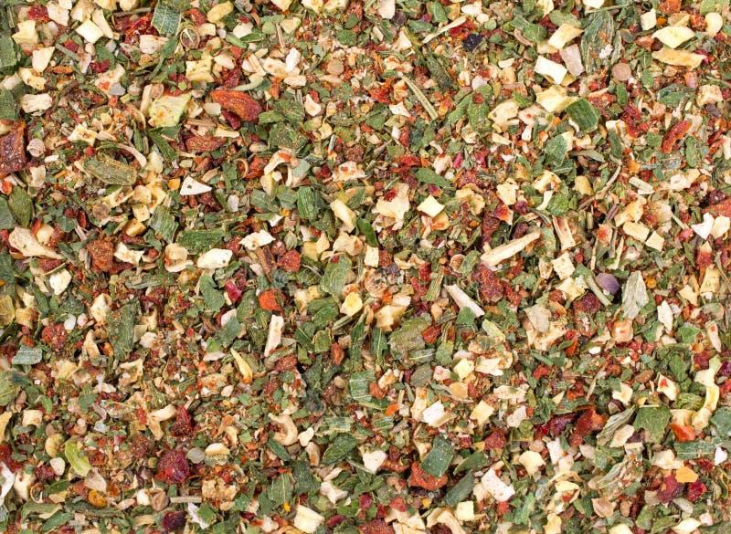 Fond de texture Légumes secs et herbes de préparation verte d'épice photographie stock